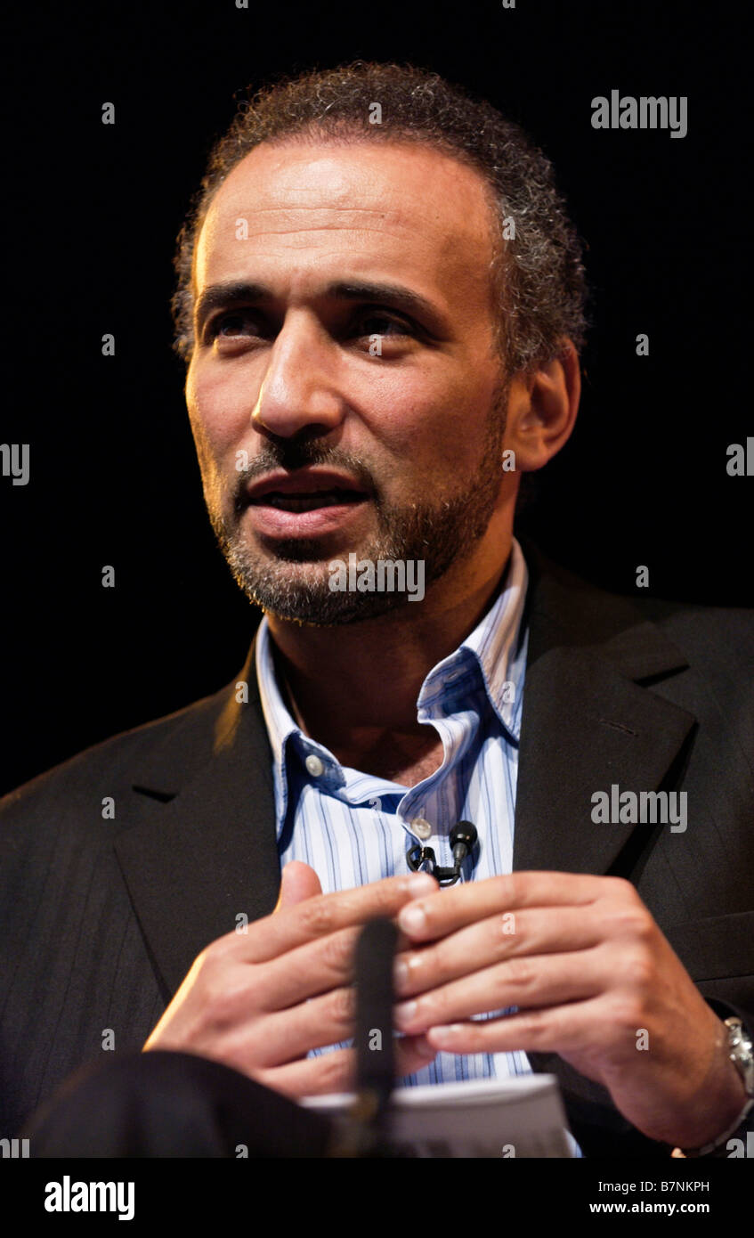 Tariq Said Ramadan Swiss Muslim academic and Theologian pictured at Hay Festival 2008 Hay on Wye Powys Wales UK - Stock Image