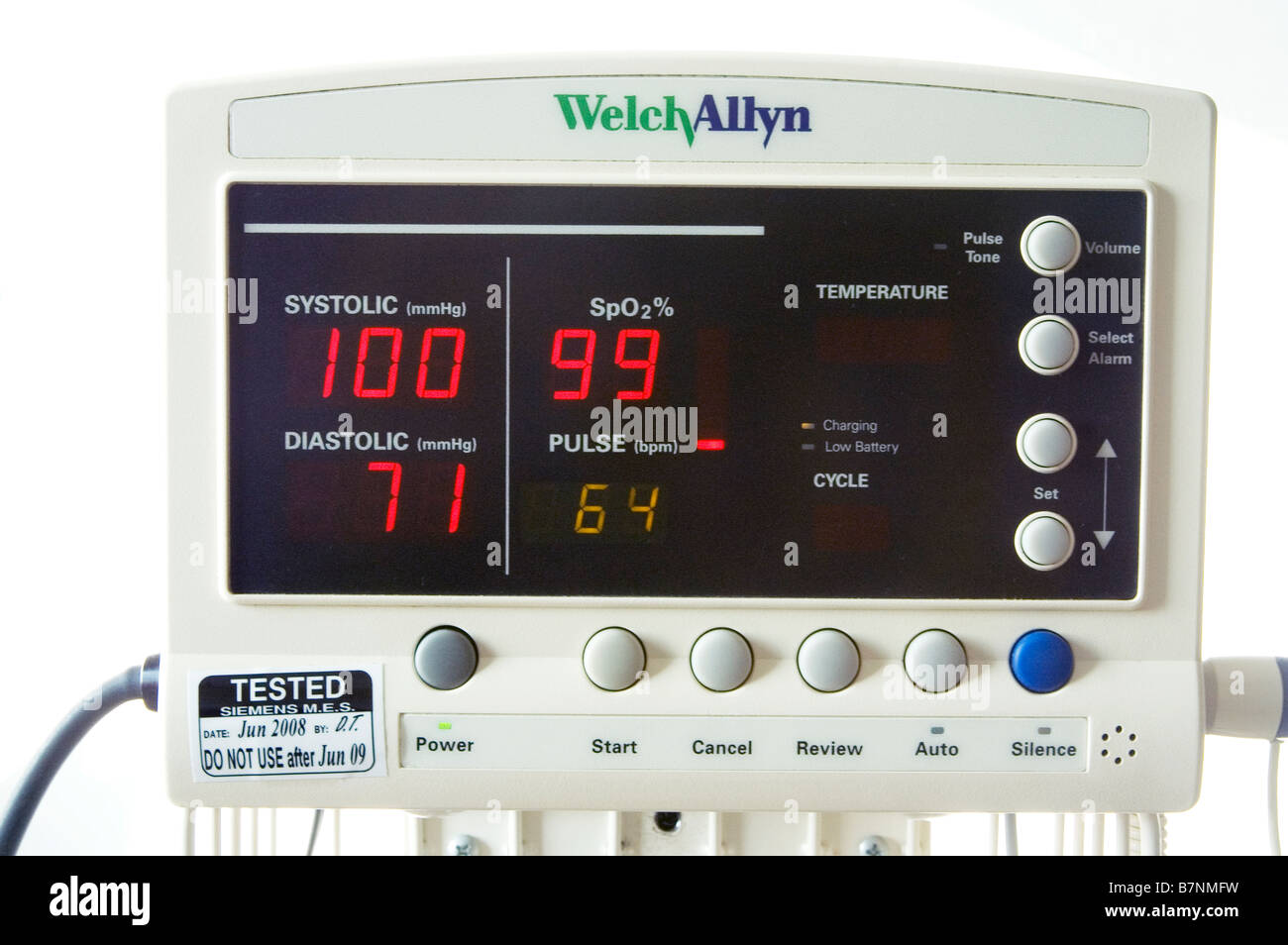 Automated blood pressure and pulse oximetry monitor - Stock Image