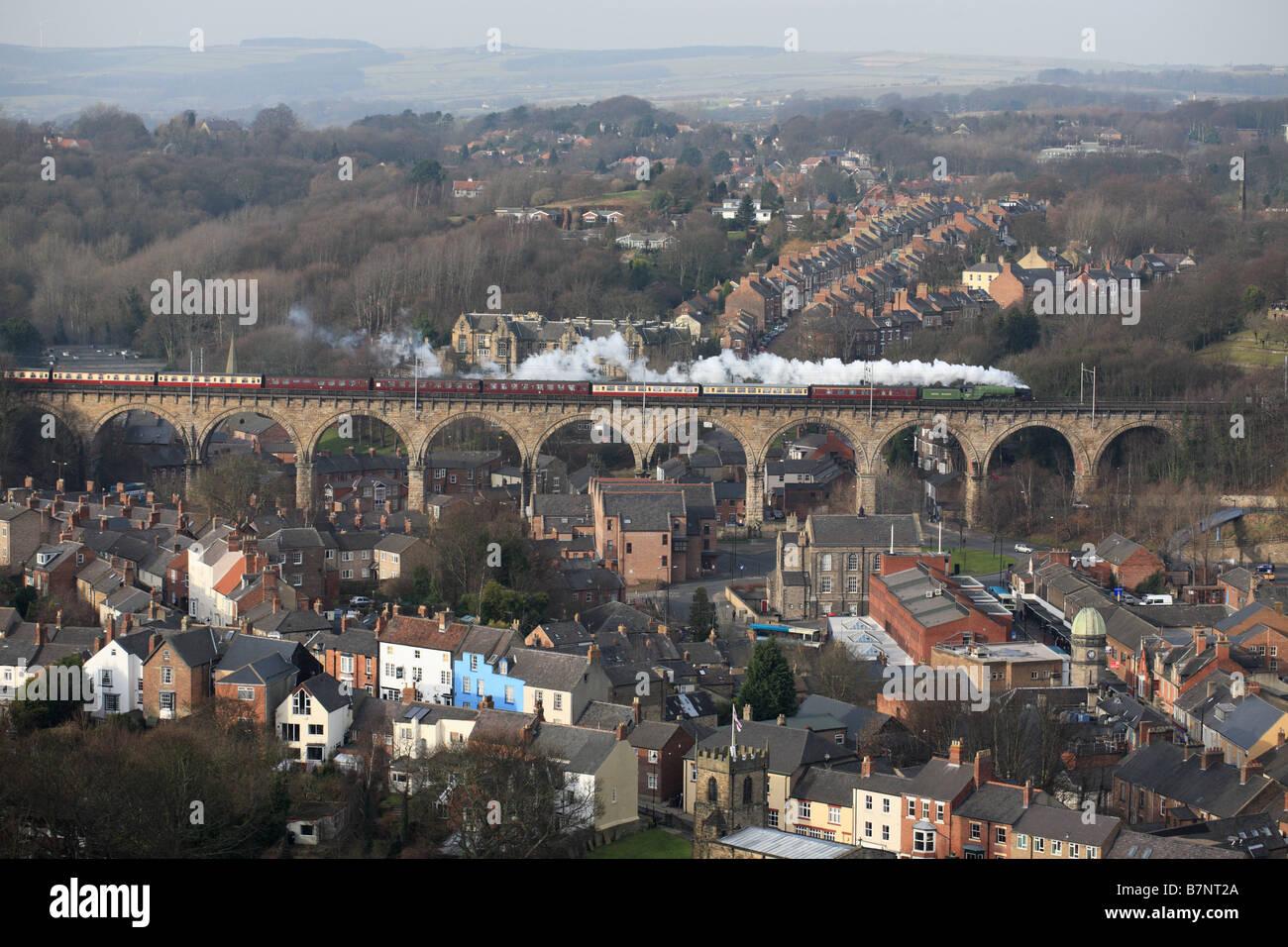 Steam loco 60163 Tornado crossing Durham Viaduct, England, UK - Stock Image