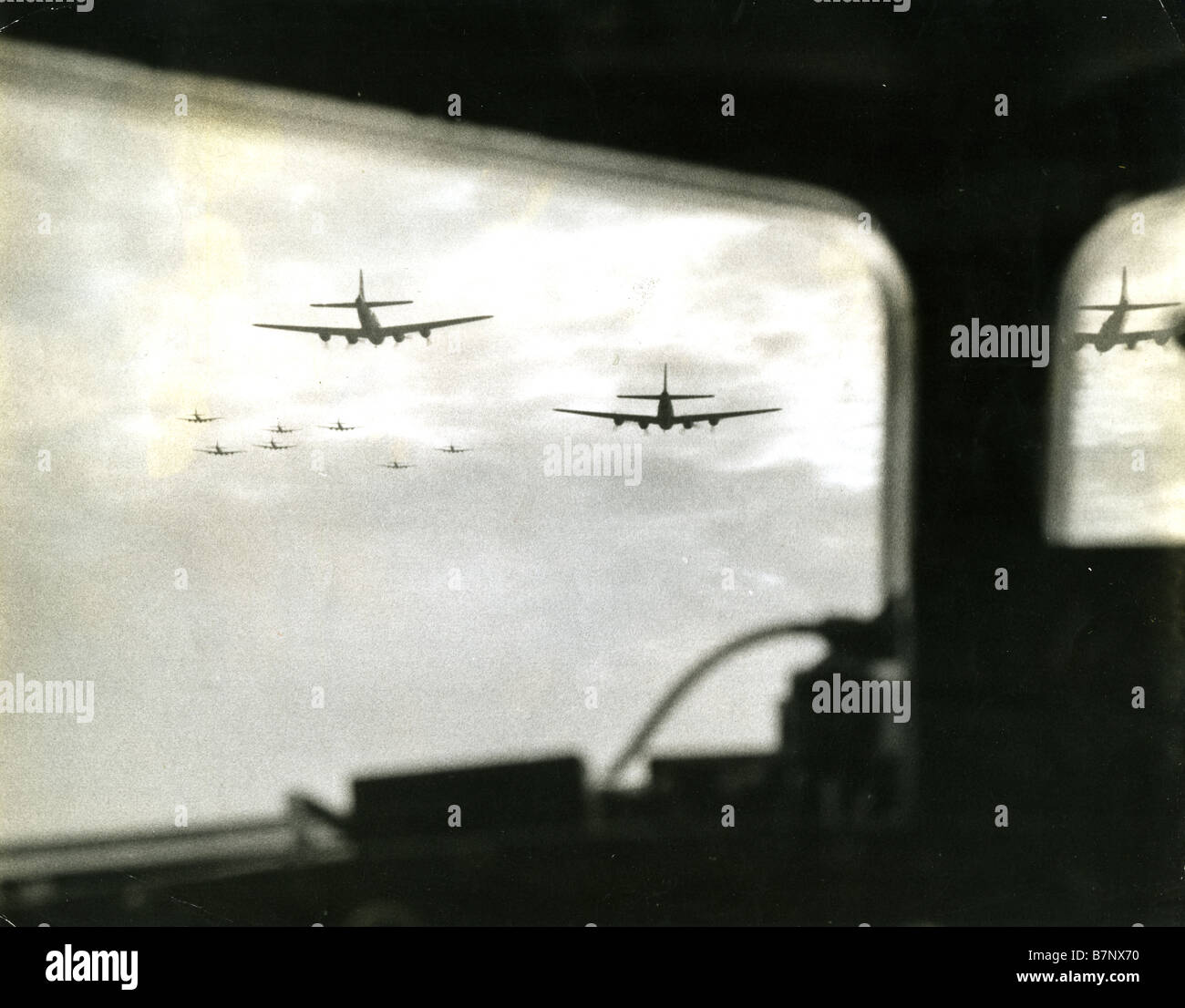 BOEING B-17F Flying Fortresses of the 32nd Bomb Squadron head towards an Italian target from their Tunisian base Stock Photo