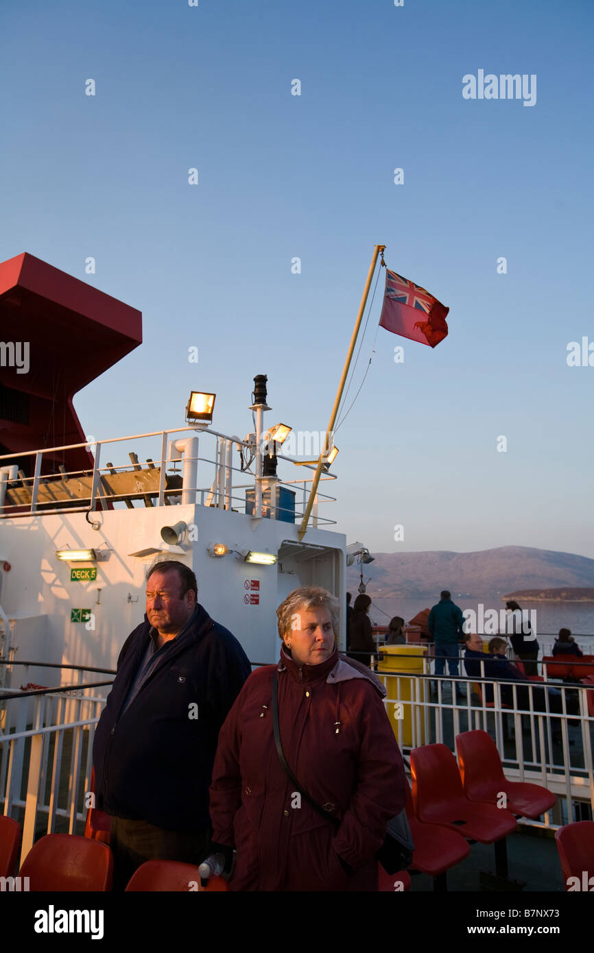 Passengers on board the ferry 'MV Clansman' on route from Uig in Skye to Tarbert on the Isle of Harris. Stock Photo