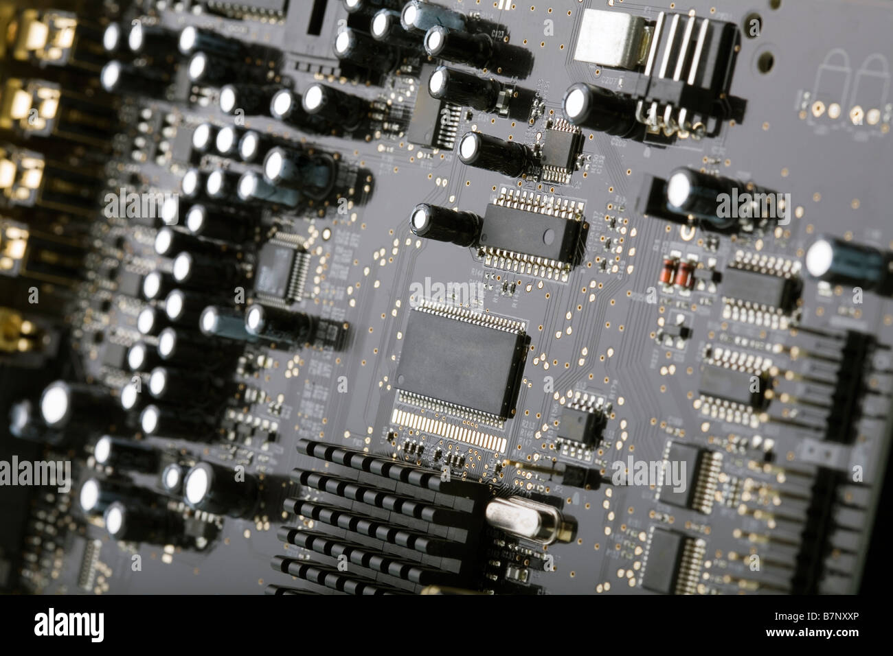 close up of a computer circuit board with many electronic components rh alamy com Circuit Board Assembly Circuit Board Connector Types