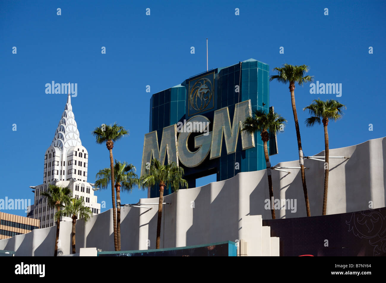 New York New York And Mgm Grand Hotel Las Vegas - Stock Image
