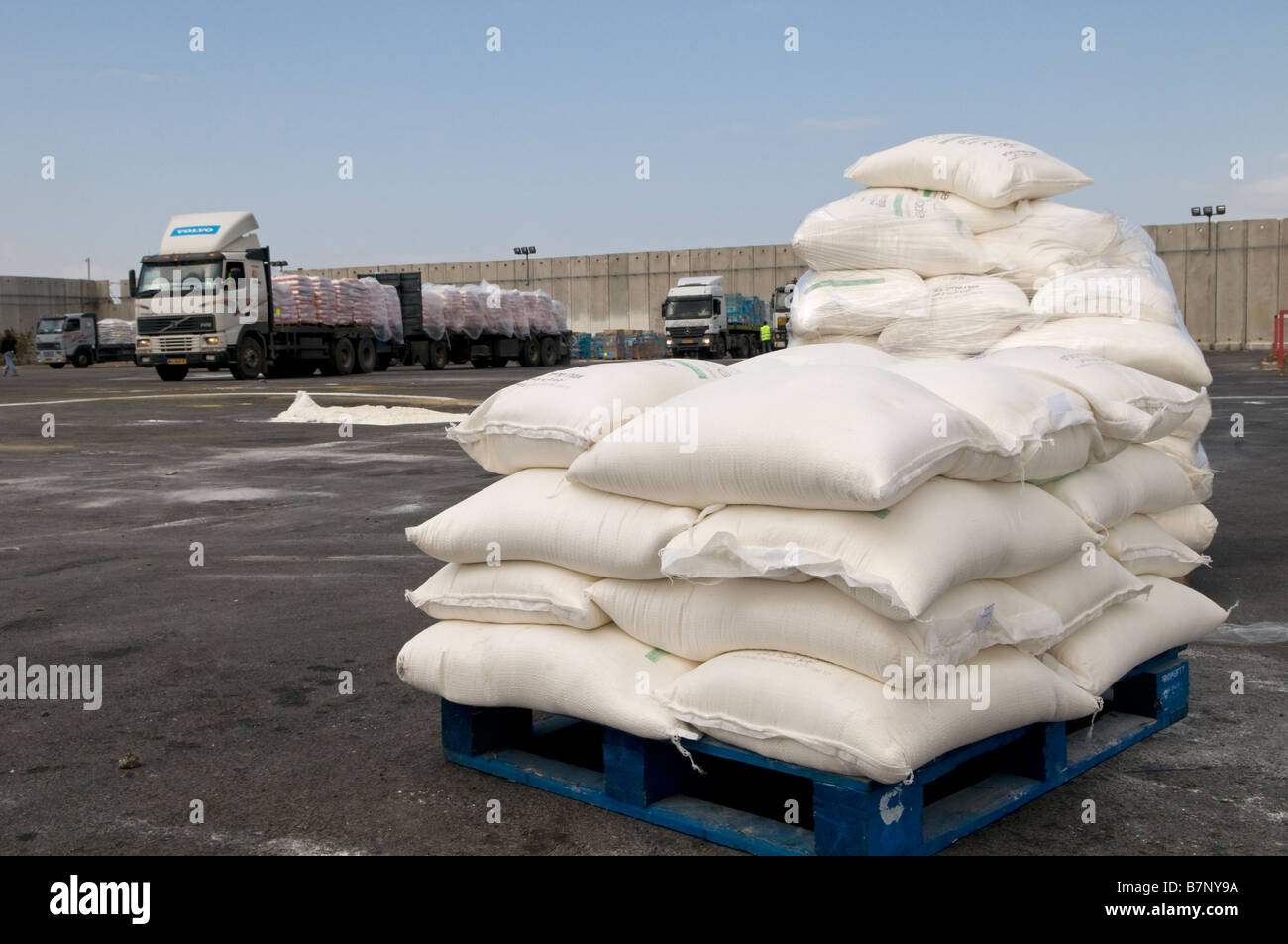 Humanitarian food supplies is prepared to enter Gaza strip at the Kerem Shalom border crossing southern Israel - Stock Image
