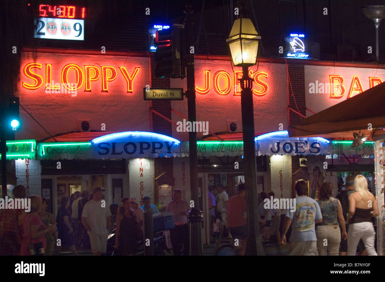 night view of sloppy joes bar in key west florida - Stock Image