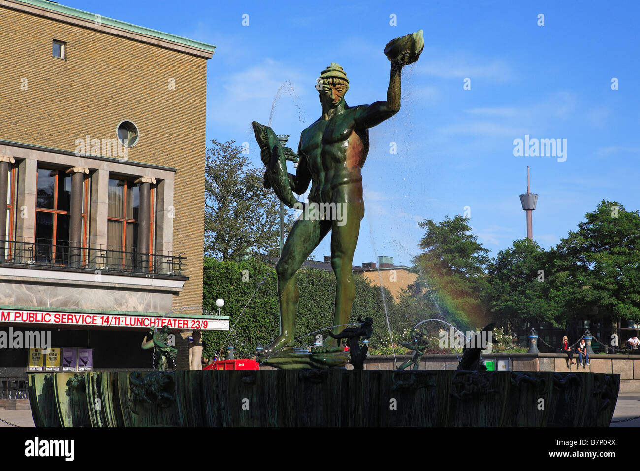 Sweden, Gothenburg, Gotaplatsen, Statue Of Carl Milles' Poseidon In Front Of Stadsteatern (the City Theatre) - Stock Image