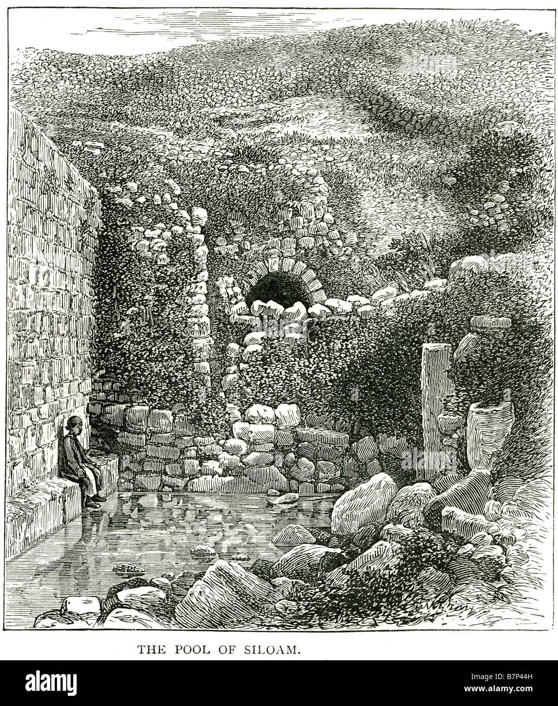 pool siloam Hebrew Breikhat Hashiloah City of David water tunnel cave sitting boy stone hill - Stock Image
