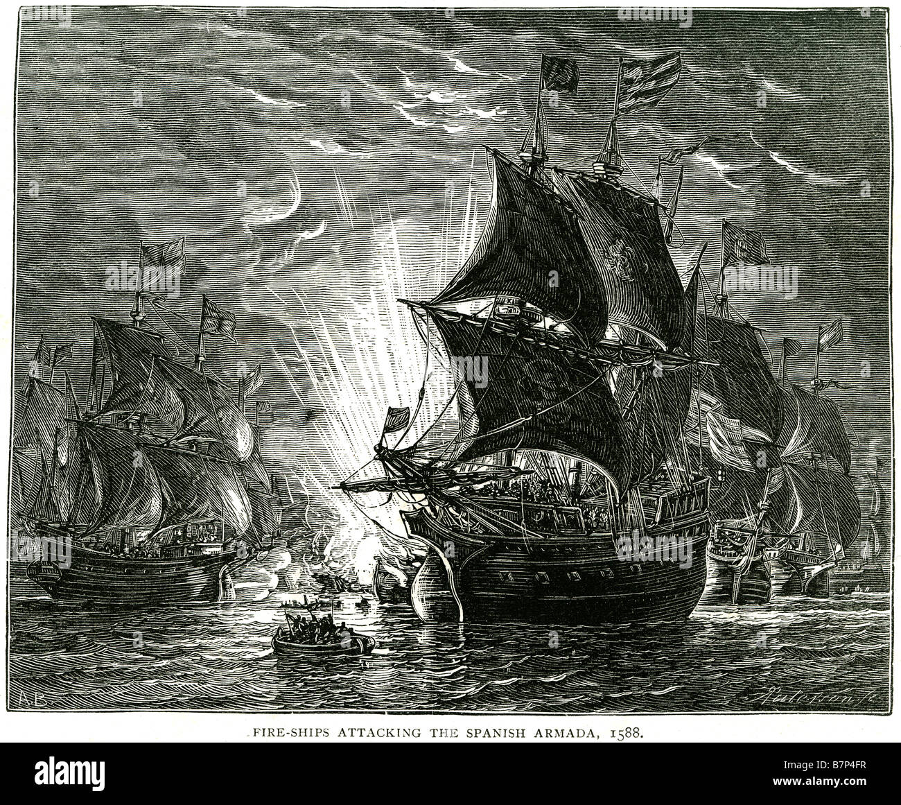 fire ships attacking spanish armada 1588 Battle ship Fleet sea Water  Sailing Sail cannon guns blast flags deck mast The Spanish