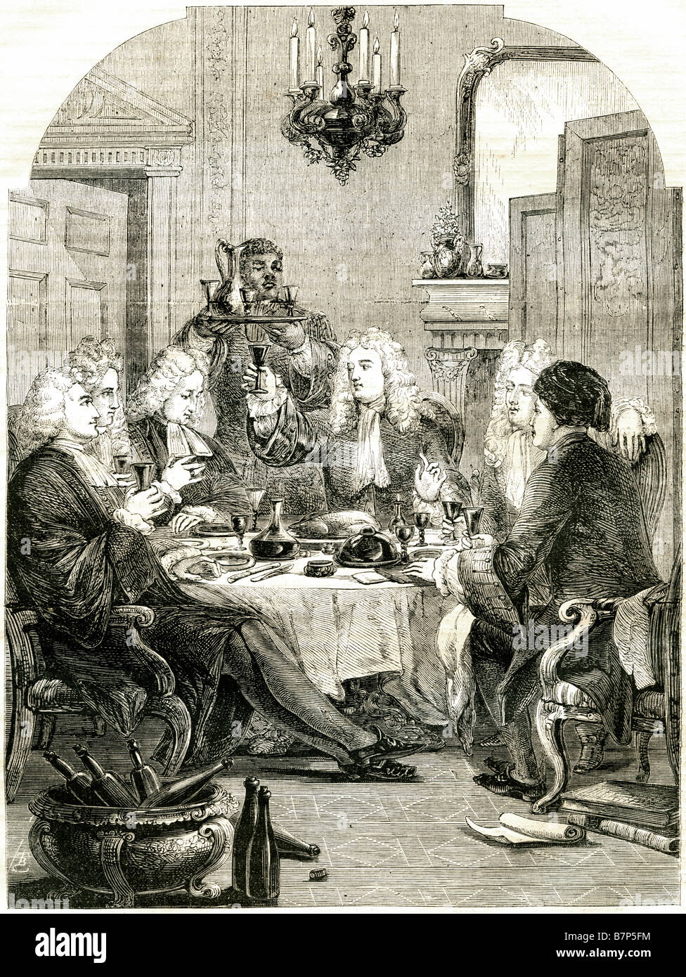 servant wigs feast table gentlemen wine scroll toasting interior room candle dinner lunc dining traditional clothing - Stock Image