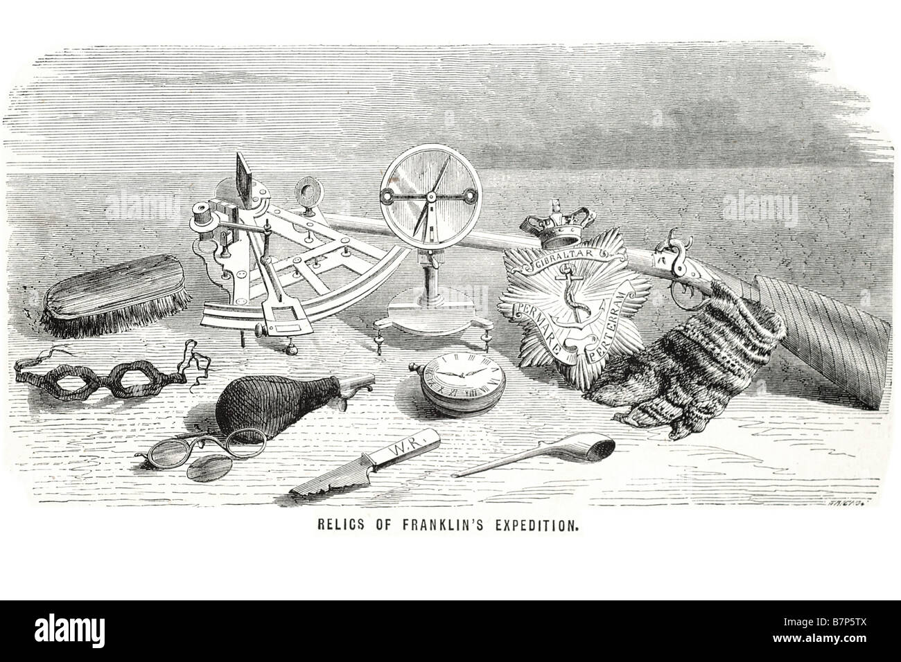 relics Franklin's expedition Sir John Franklin ornaments utensils navigation weapon rifle knife pipe watch goggles - Stock Image