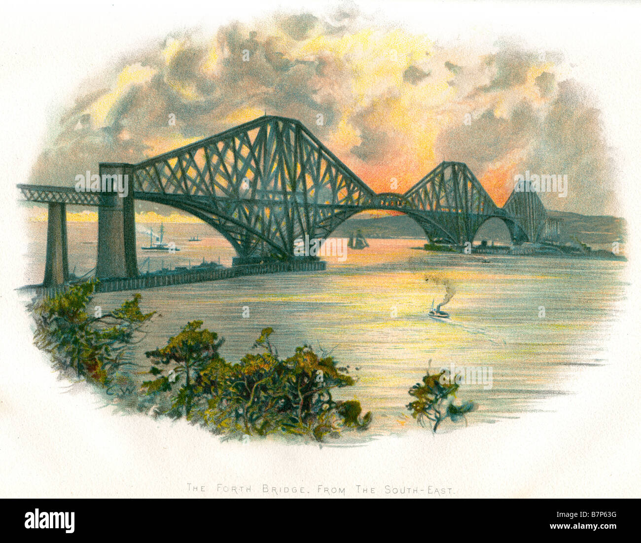 Forth bridge sout east travel transport connection metal iron steel structure civil engineering river trade boat - Stock Image