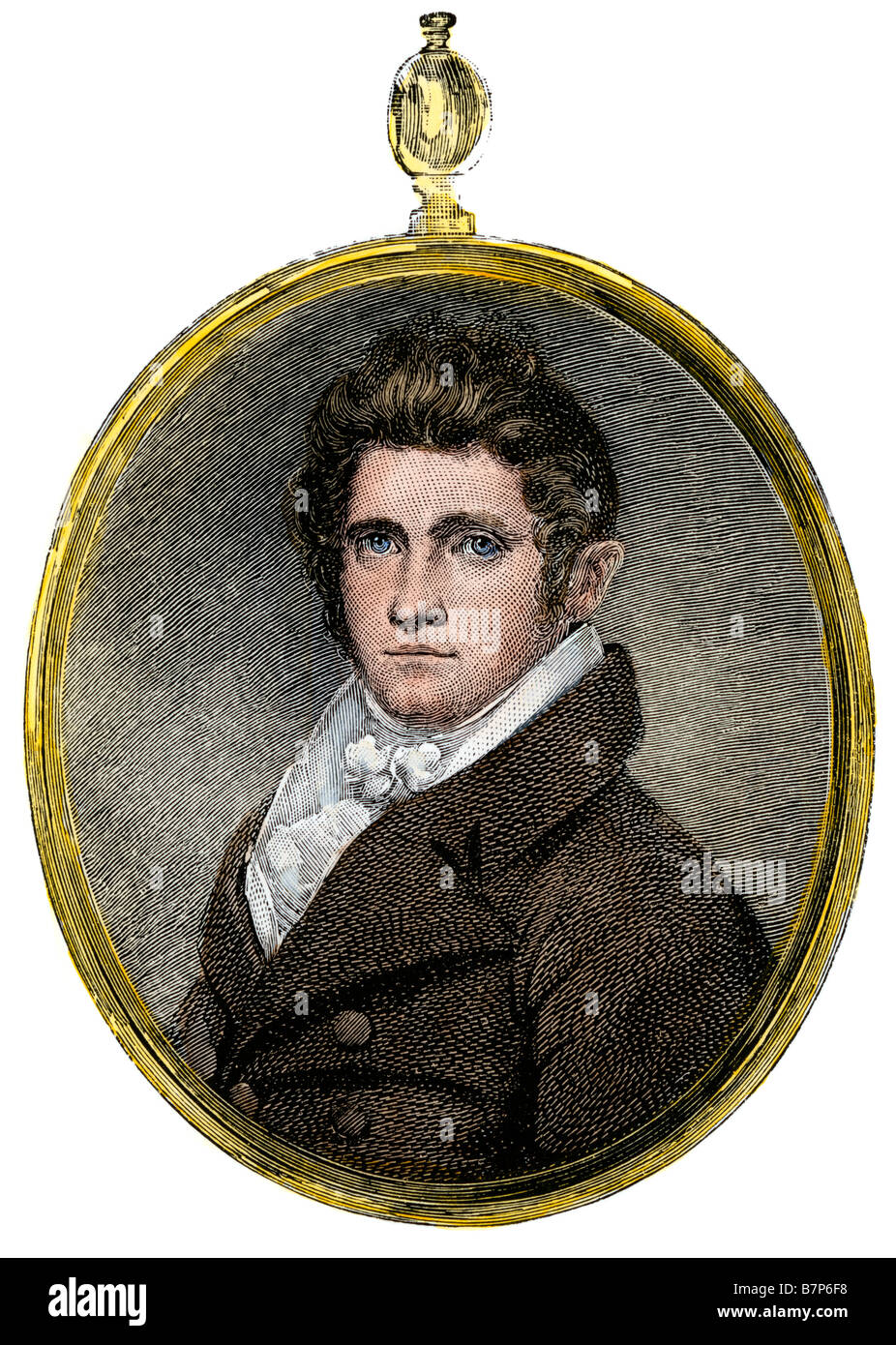 Jonathan Jackson, father of Thomas Stonewall Jackson. Hand-colored woodcut - Stock Image
