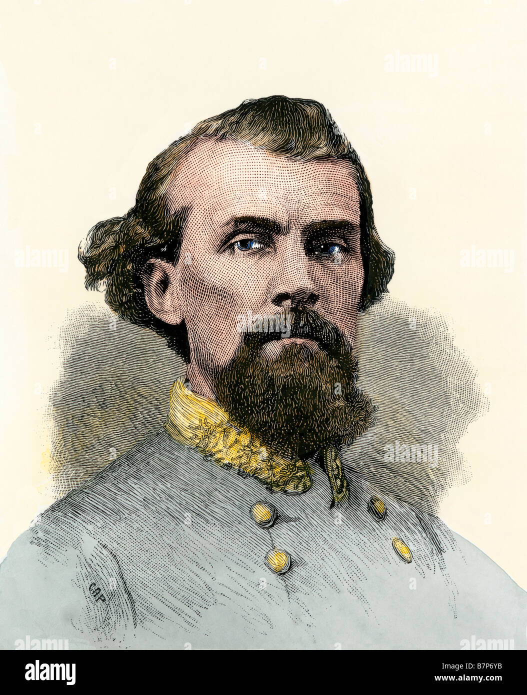 Confederate General Nathan Bedford Forrest in the Civil War. Hand-colored woodcut - Stock Image