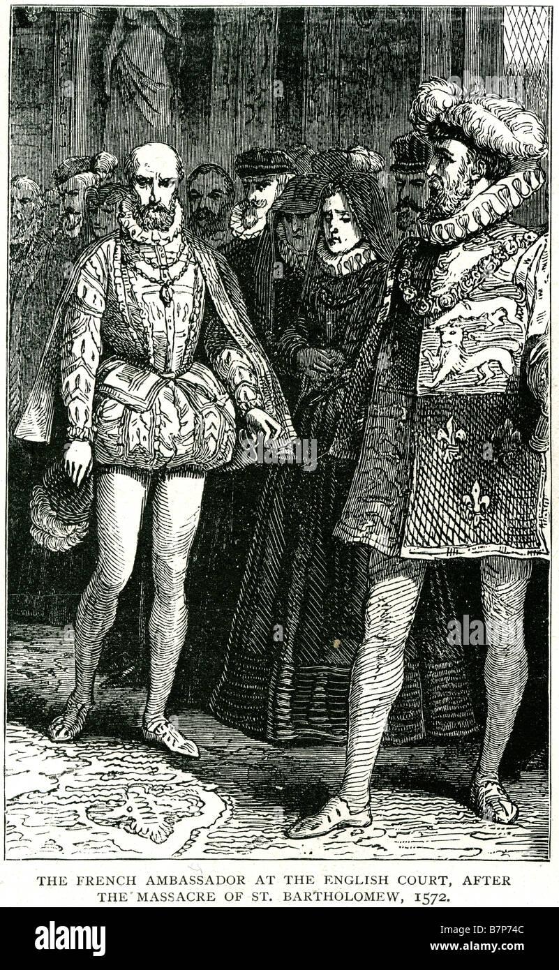 French ambasador English Court Massacre St. Bartholomew 1572 Massacre de la Saint-Barthélemy meeting Stock Photo