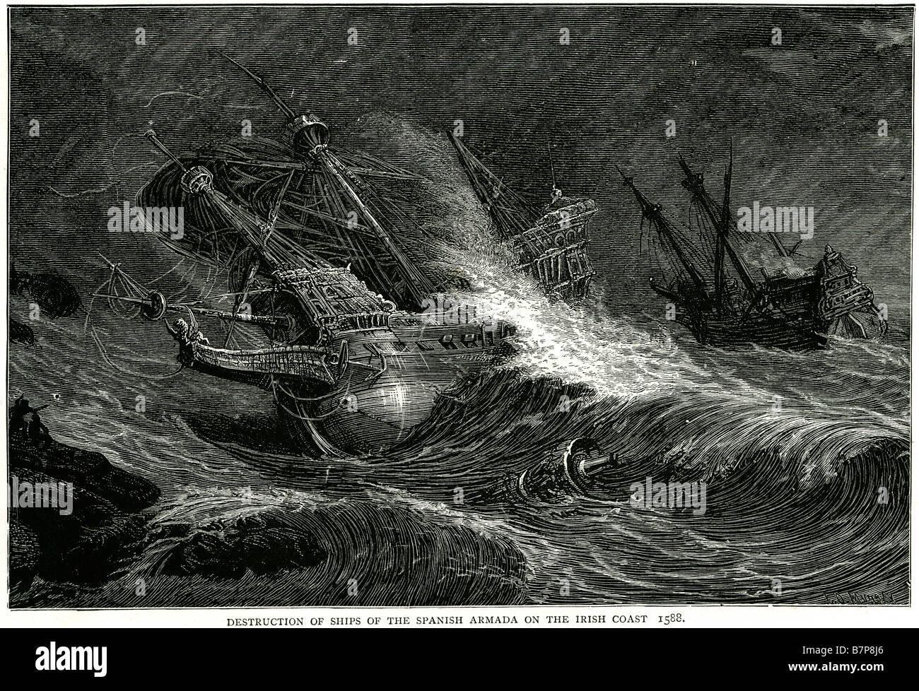 Destruction ships spanish armada irish coast 1588 Invincible Navy Storm Battle ship Fleet sea Water Sailing Sail - Stock Image