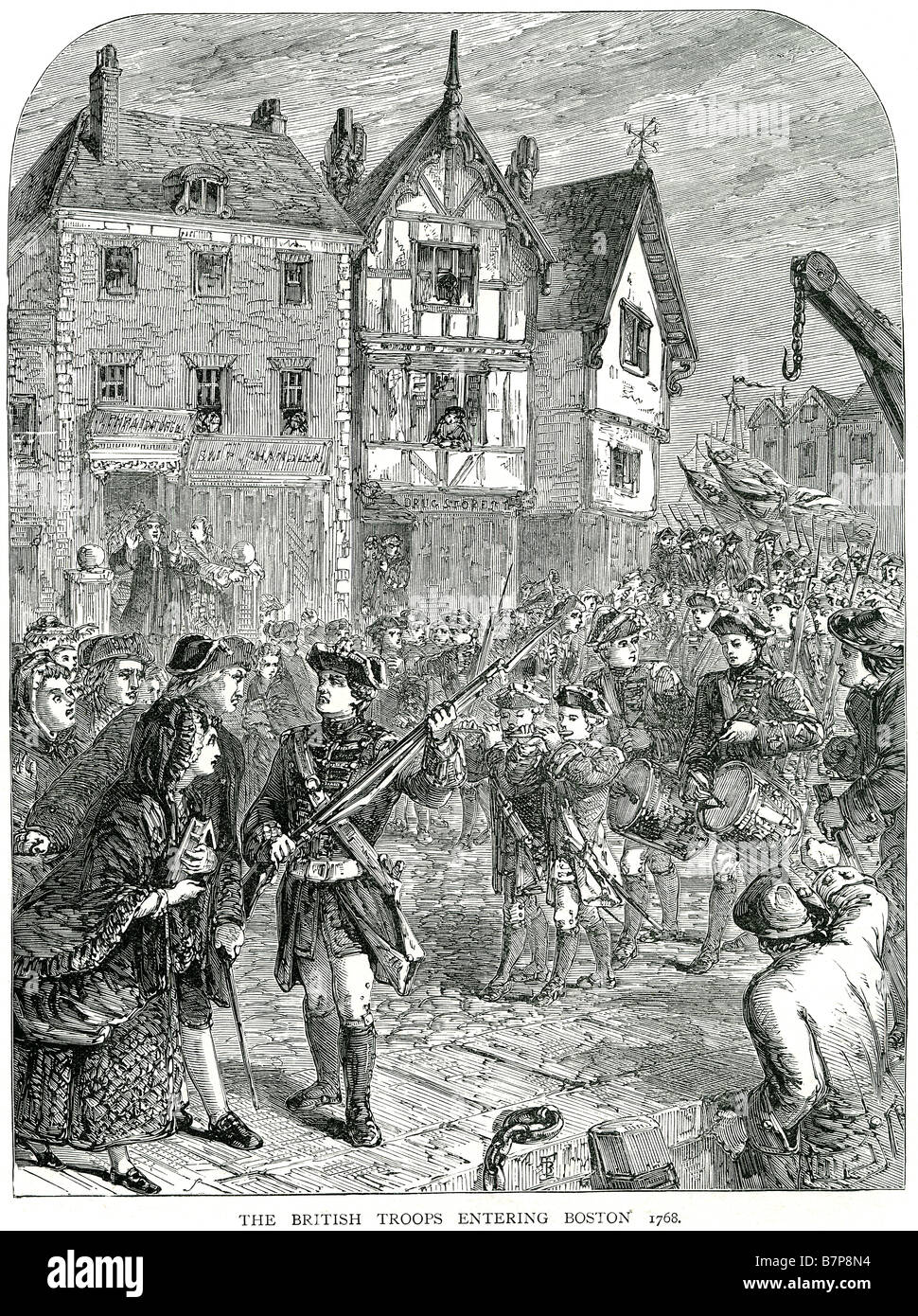 British Troops Entering Boston 1768 parade city angry military traditional clothing soldiers Learning that British - Stock Image