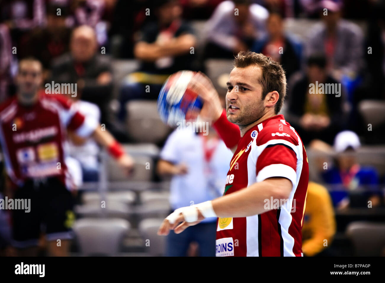 World Handball Championship for Men 2009 in Croatia. Match Romania-Argentina. Endscore 30:26. Marius Stavrositu. - Stock Image