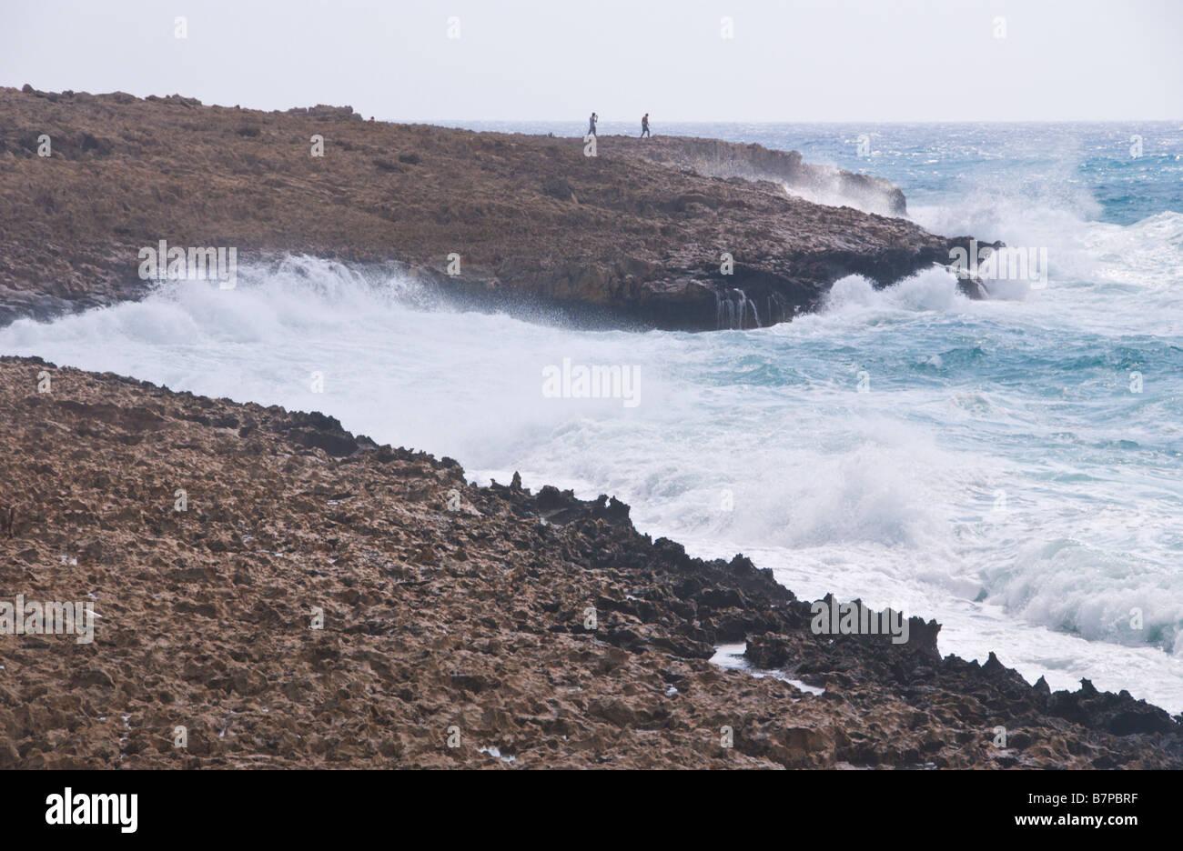 Large waves crash onto rocks in high winds near Ayia Napa on the Eastern Mediterranean island of Cyprus EU - Stock Image