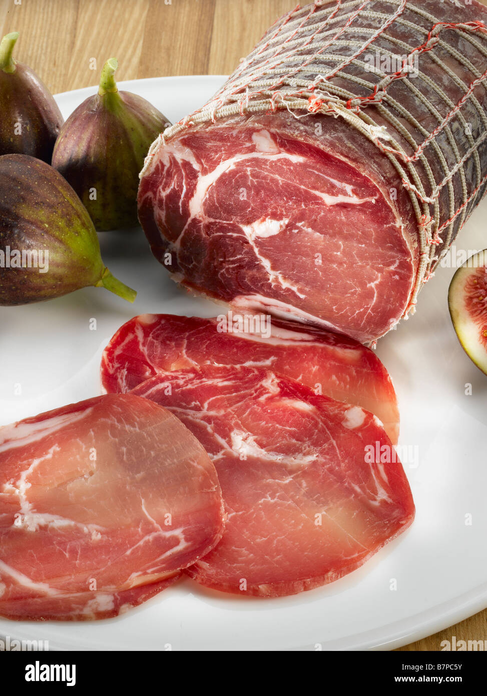 Italian Coppa Sausage Sliced Stock Photo Alamy