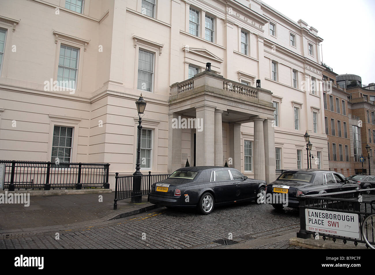 Lanesborough Hotel - London SW1 with two Rolls Royce Phantoms parked outside the main entrance - Stock Image