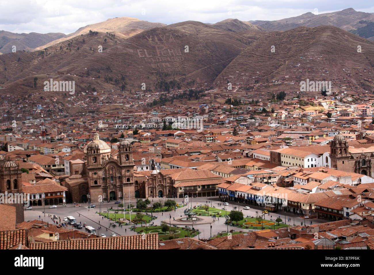 The view of the Plaza de Armas and the surrounding landscape of Cusco, Peru Stock Photo