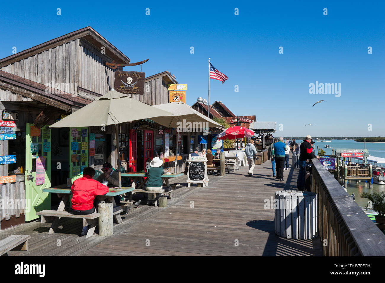Seafront Shops And Restaurants On The Boardwalk At Johns Pass Stock