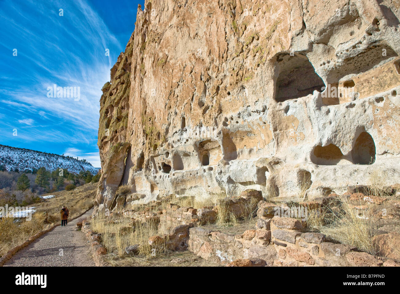 Ancient pueblo dwellings in New Mexico, USA. Native Americans used natural caves as housing. - Stock Image
