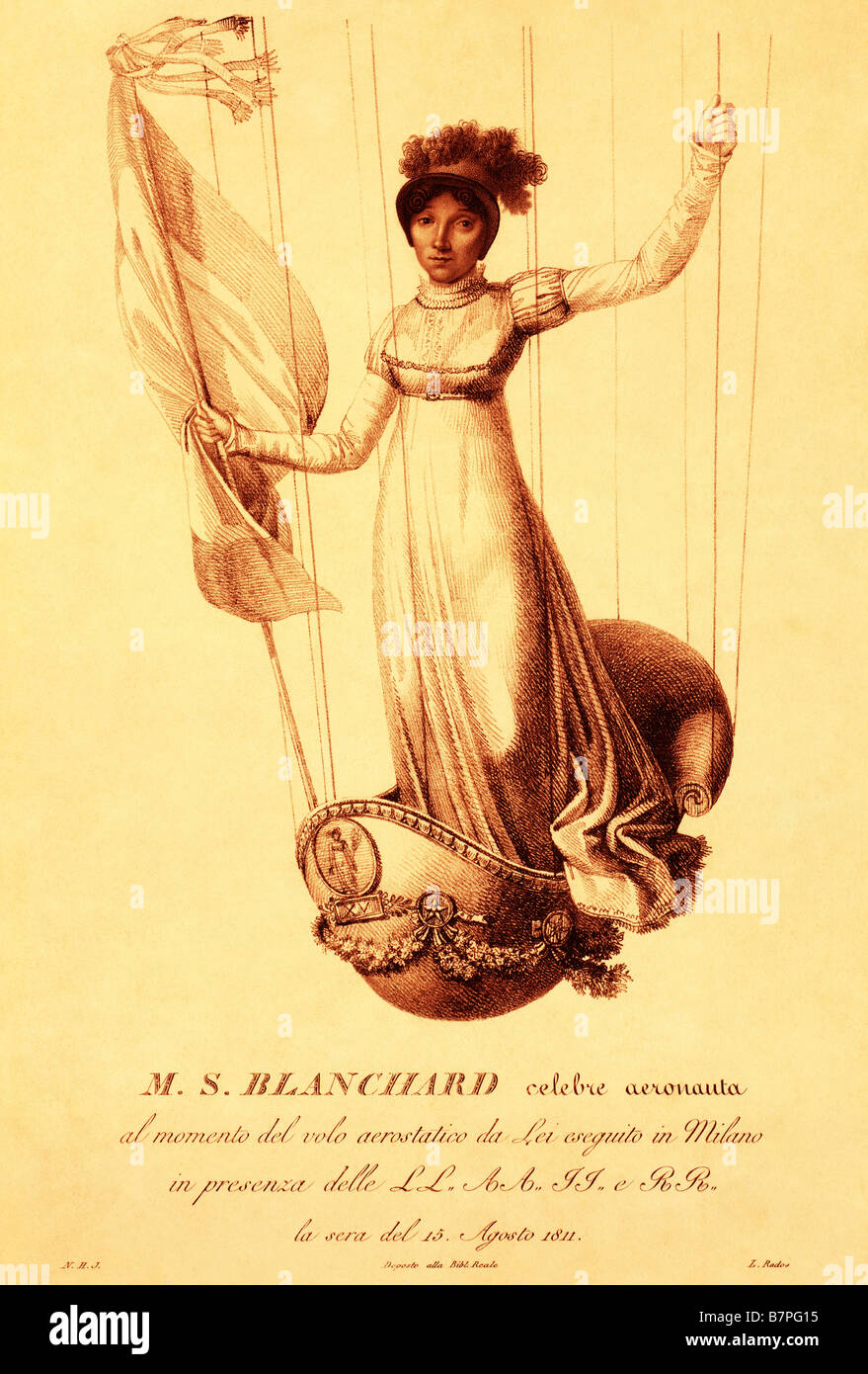 sketch of  Sophie Blanchard first professional woman balloon pilot 1800s Stock Photo