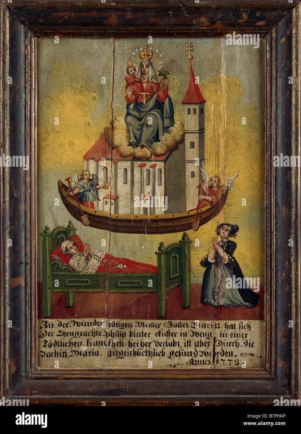 Sossau, Marienwallfahrtskirche, Votivbild von 1778 in der Nothelferkapelle, Kranker mit Marienerscheinung (Schifffahrt - Stock Image