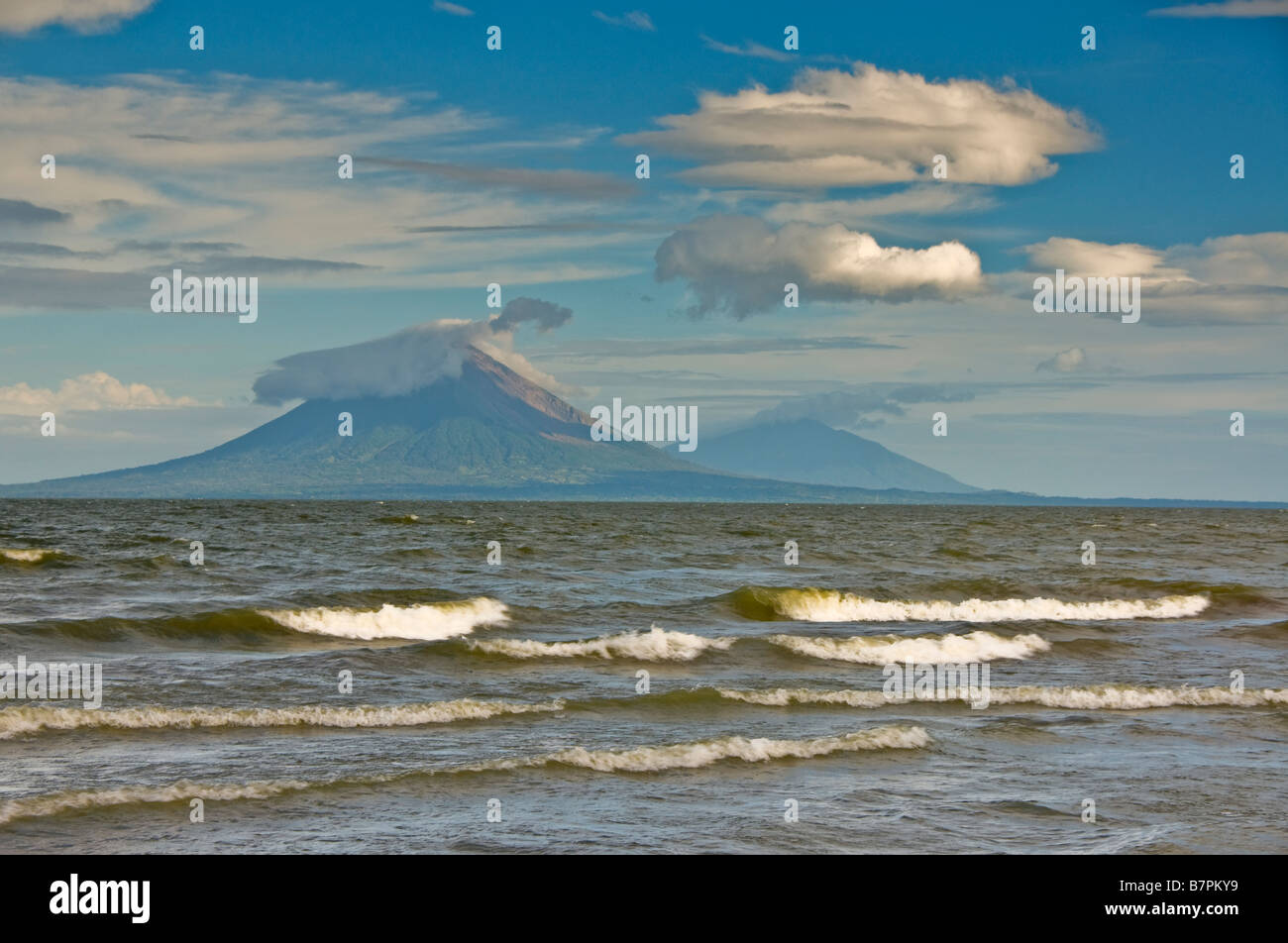 Lake Nicaragua, north of Rivas, with Concepcion and Maderas volcanoes on Ometepe Island - Stock Image