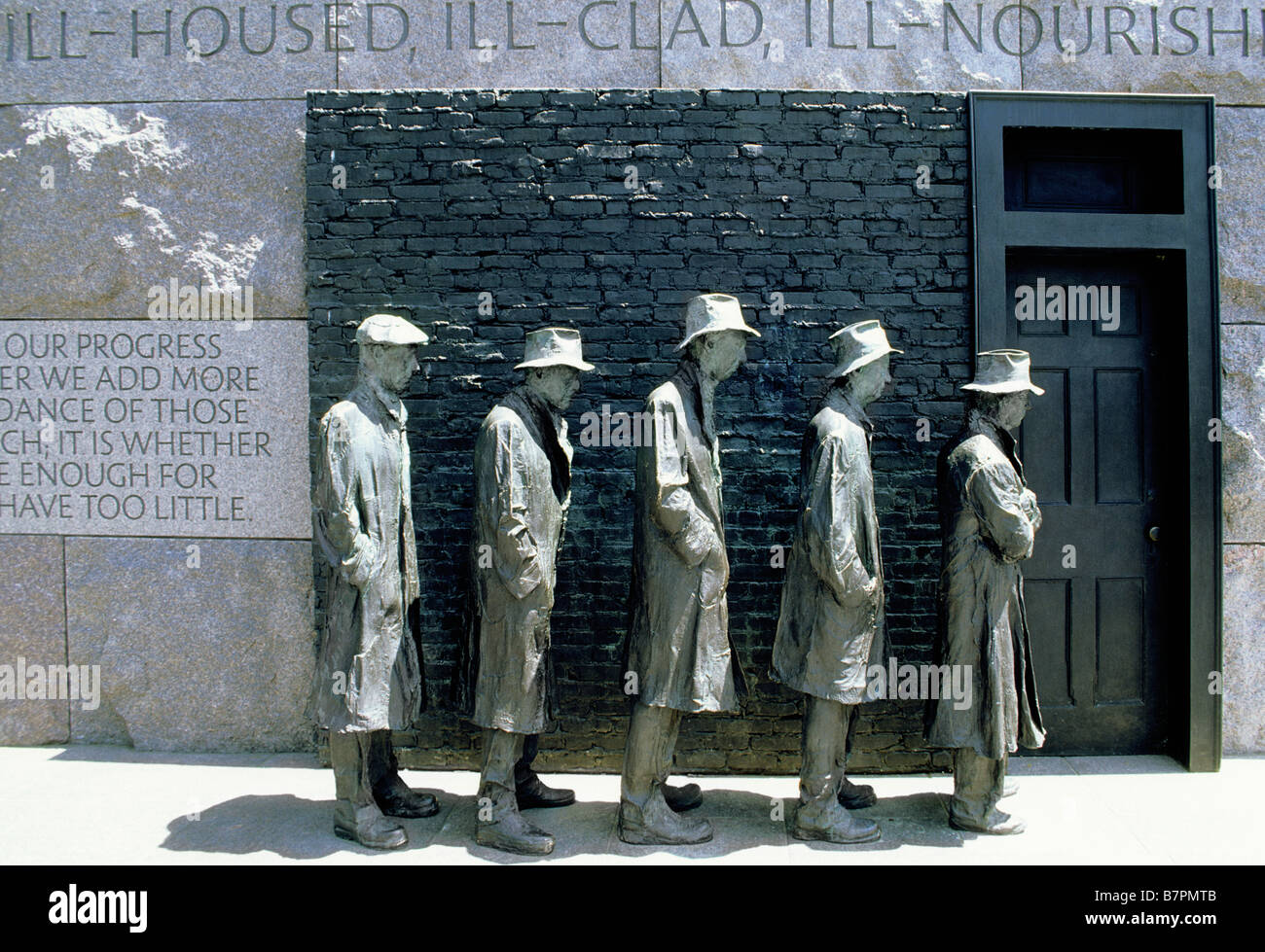 USA Washington DC The Franklin Delano Roosevelt Memorial Sculpture Breadline - Stock Image