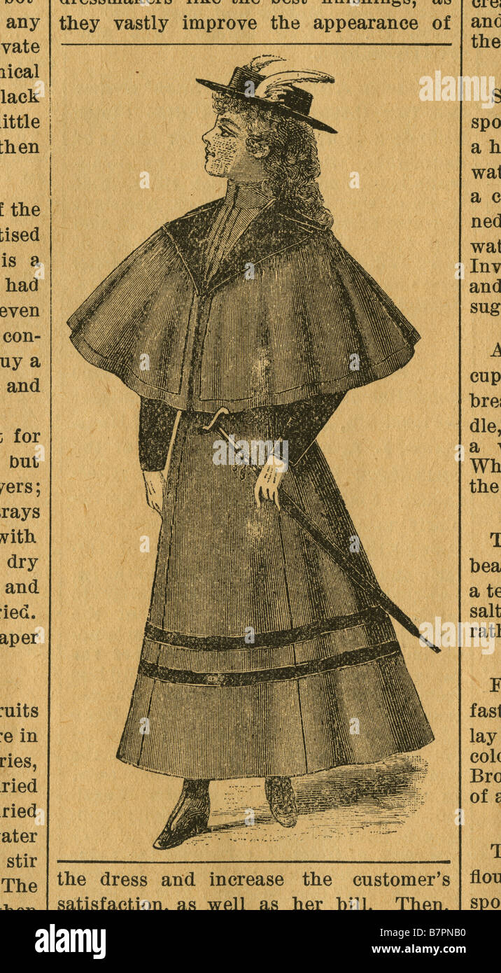 1893 antique newspaper illustration of a proper Victorian woman. - Stock Image