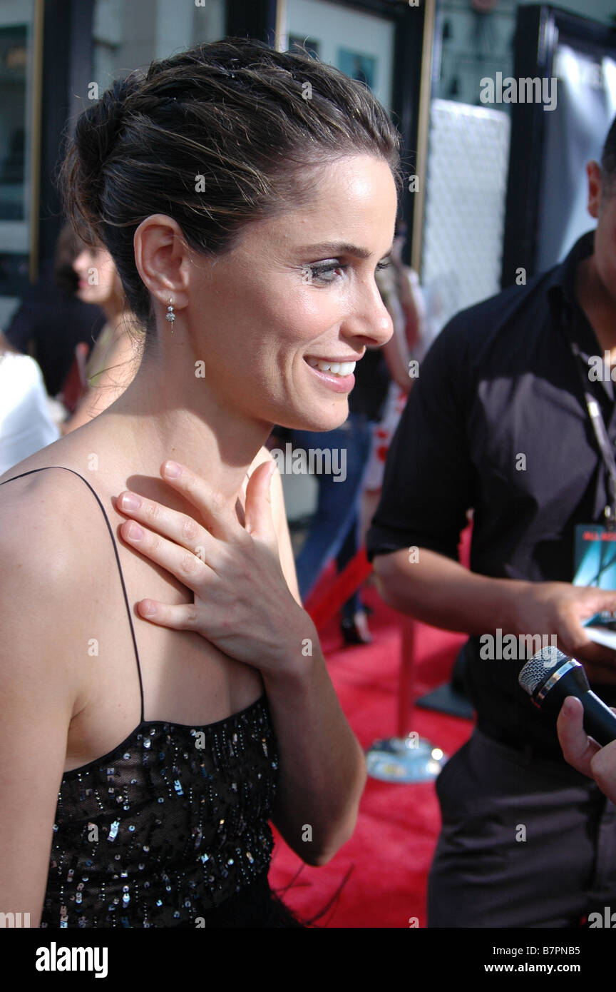 Actress Amanda Peet attends the U.S. premiere of The X-Files: I Want to Believe at Mann Grauman's Chinese Theater. - Stock Image