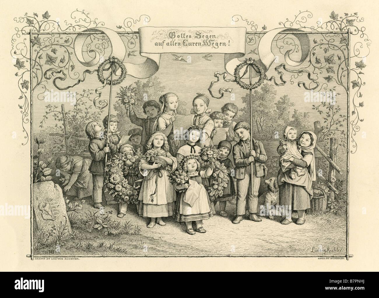 "Circa 1870s steel engraving: ""A Song of Welcome,"" drawn by Adrian Ludwig Richter, engraved by J Burkner. Stock Photo"
