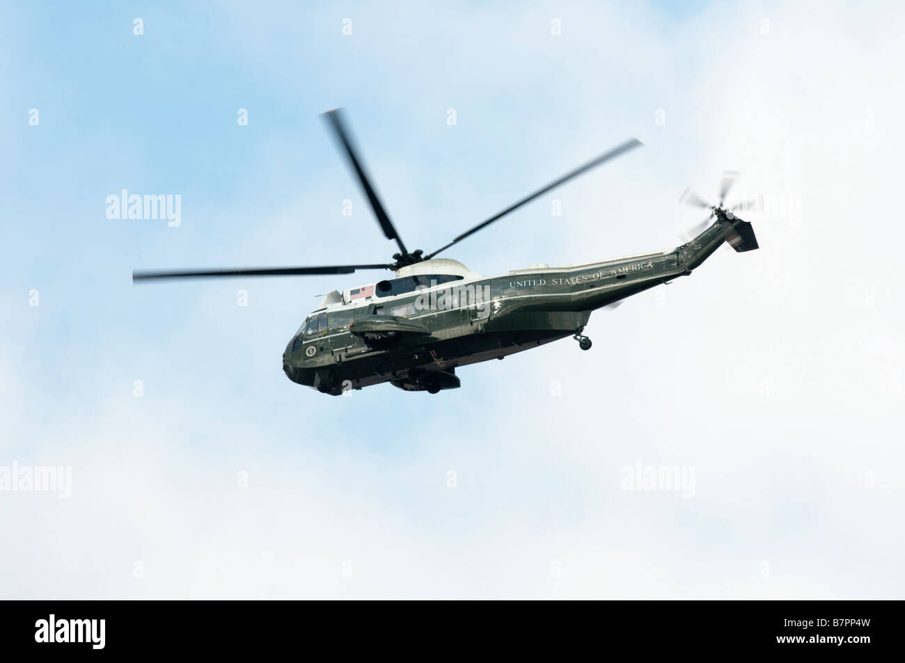 Marine One is the call sign given to military helicopters that carry U.S. presidents including this VH-3D Sikorsky Stock Photo