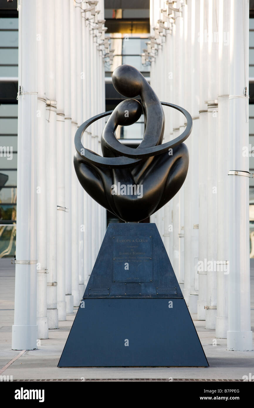 Statue in front of the European Parliament - Stock Image