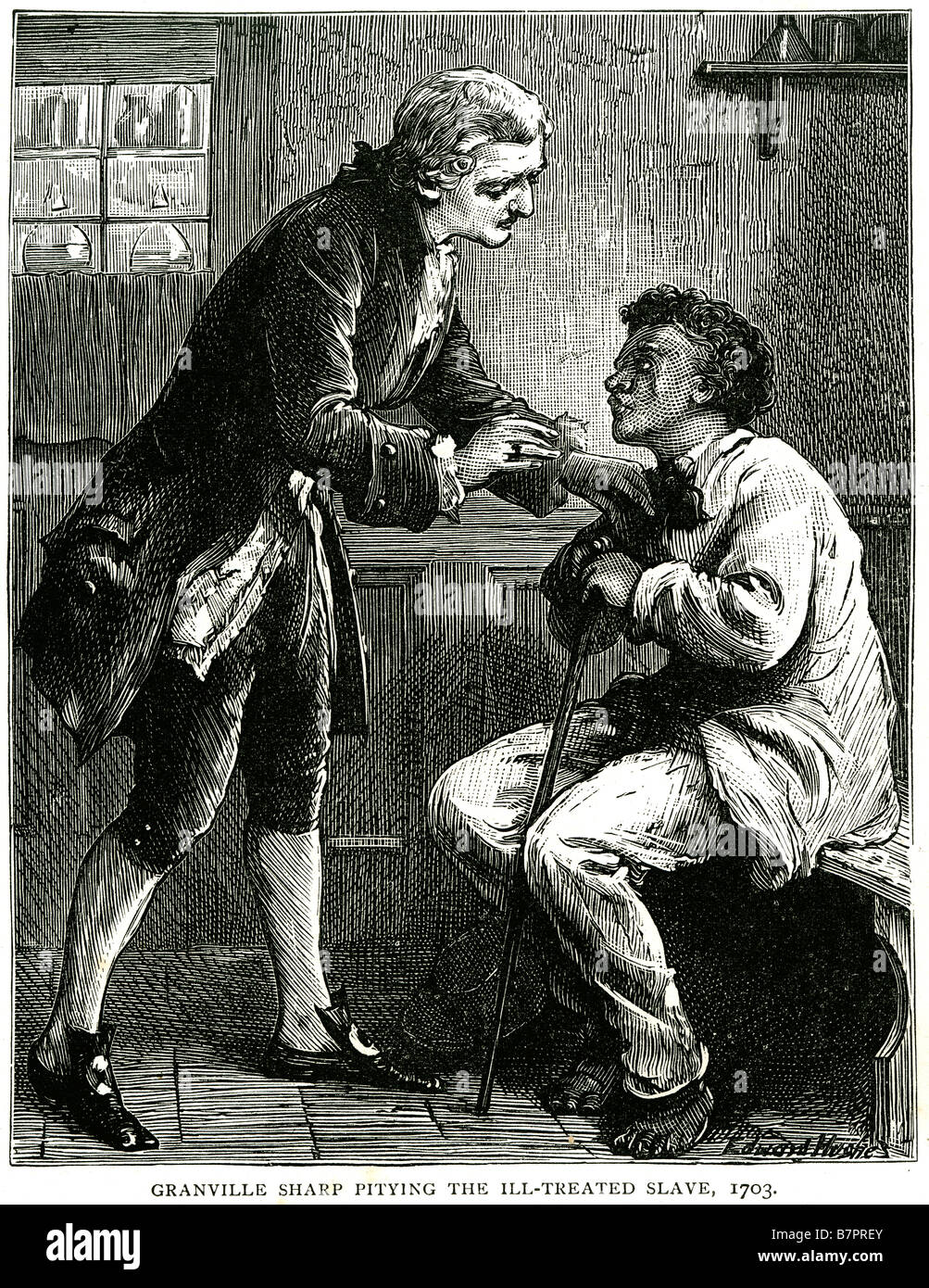 Granville Sharp Pitying Ill-Treated slave 1703 slavery sorry pity inside house walking stick Granville Sharp (10 - Stock Image