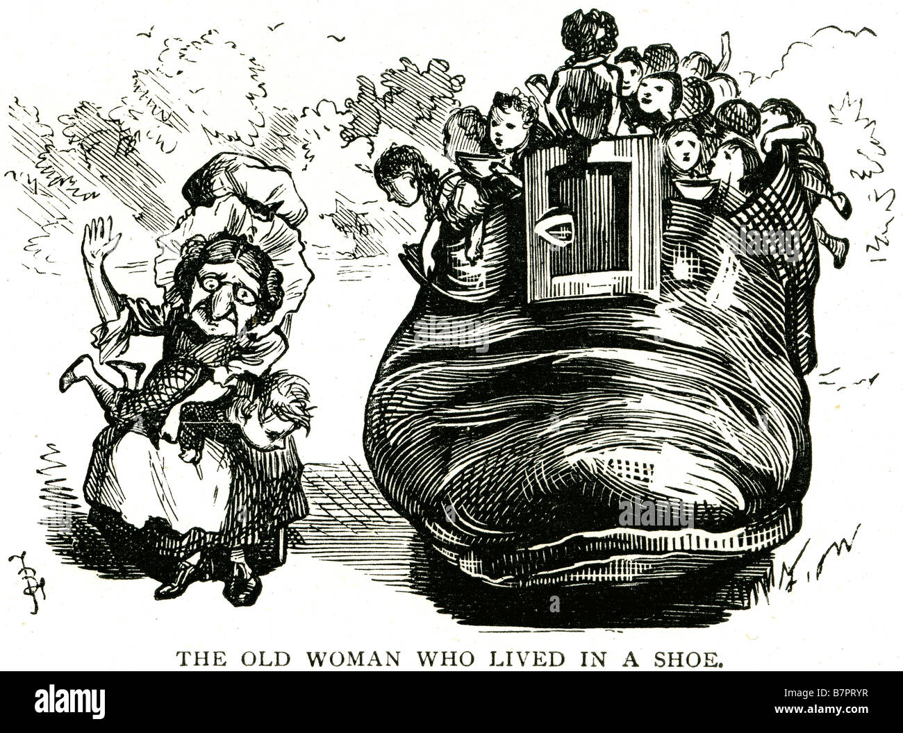 old woman lived shoe Nursery Rhyme 'There Was An Old Woman Who Lived In A Shoe' is a popular nursery rhyme. - Stock Image