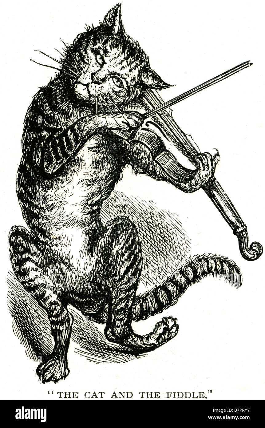 Cat Fiddle dancing violin animal nursery rhyme Hey Diddle Diddle (also Hi Diddle Diddle), The Cat and the Fiddle, - Stock Image