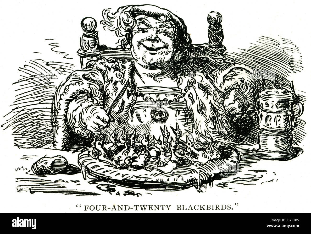 Nursery Rhyme Four-and-Twenty Blackbirds pie chick eating Sing a Song of Sixpence is a well known English nursery - Stock Image