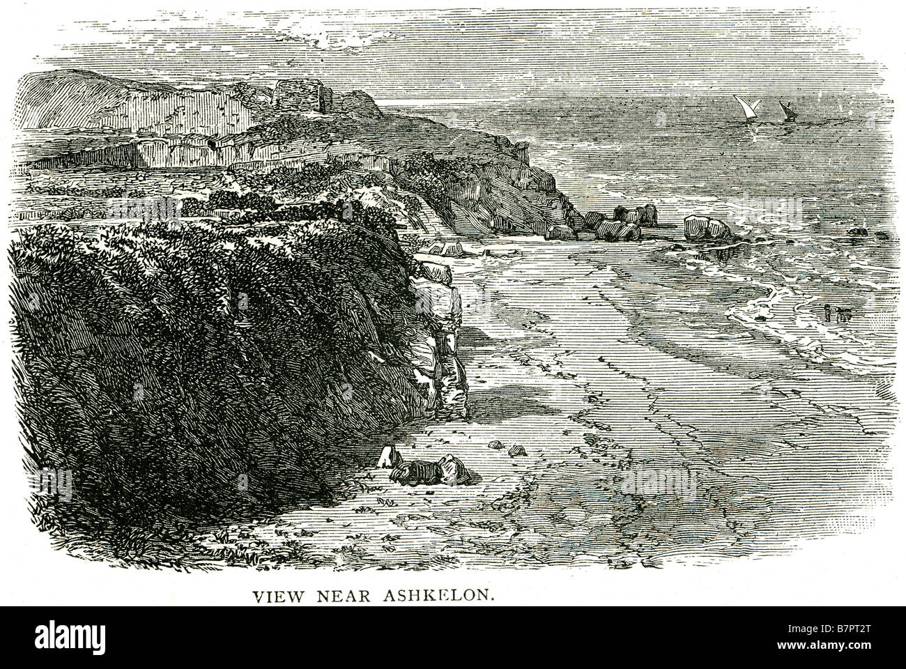 view Ashkelon Judges xiv 19 beach coast sea banks sand ruins God Jesus bible holy testament old new Christ Christian - Stock Image