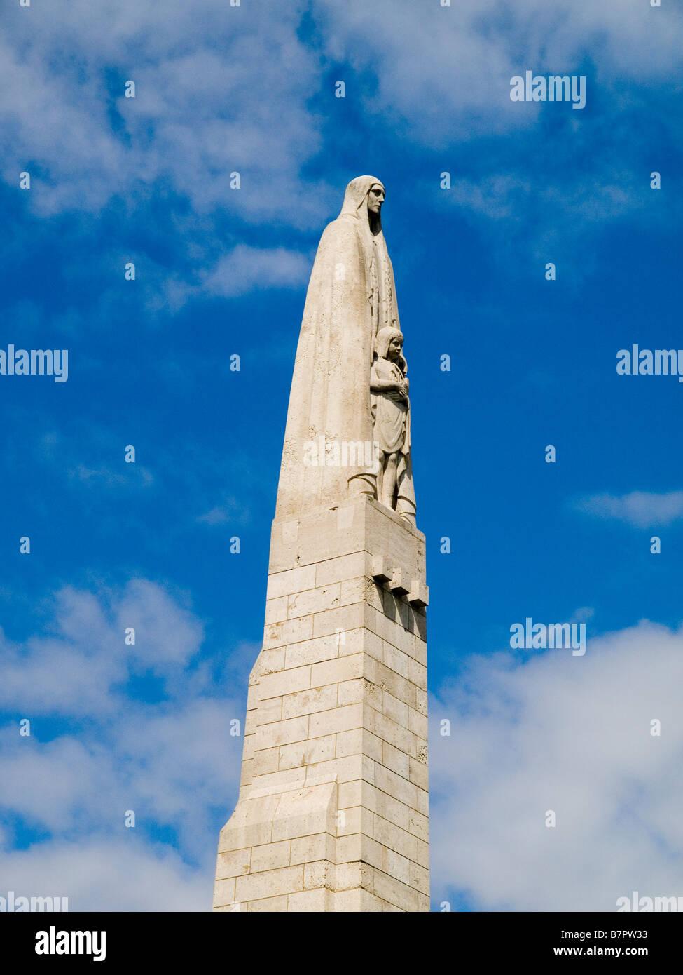 Close up of a statue of Saint Genevieve on Pont de la Tournelle, Paris France Europe - Stock Image