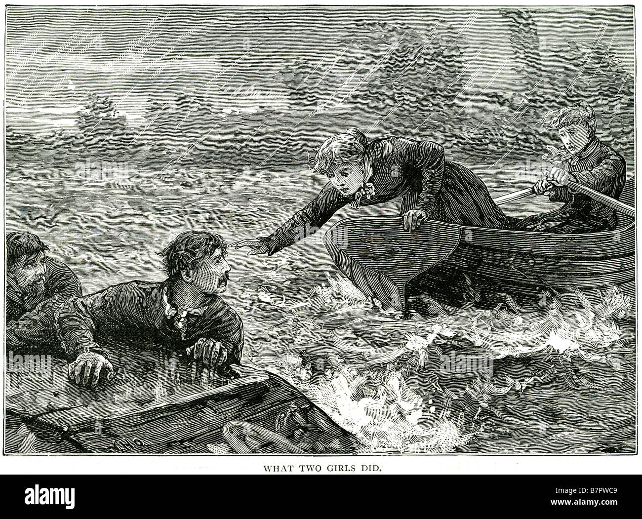 what two girls did a gallant deed rescue shipwreck storm sea sailors drowning hero capsize ship sea water boat men - Stock Image