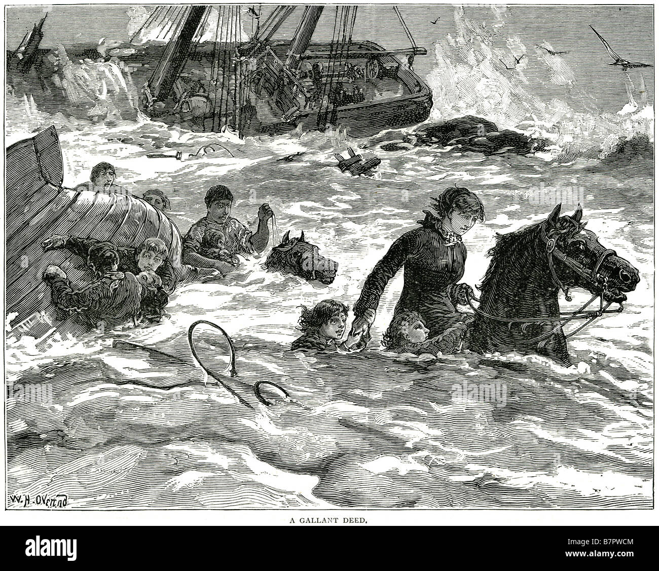 a gallant deed rescue shipwreck storm sea sailors drowning hero capsize ship sea water boat men women - Stock Image