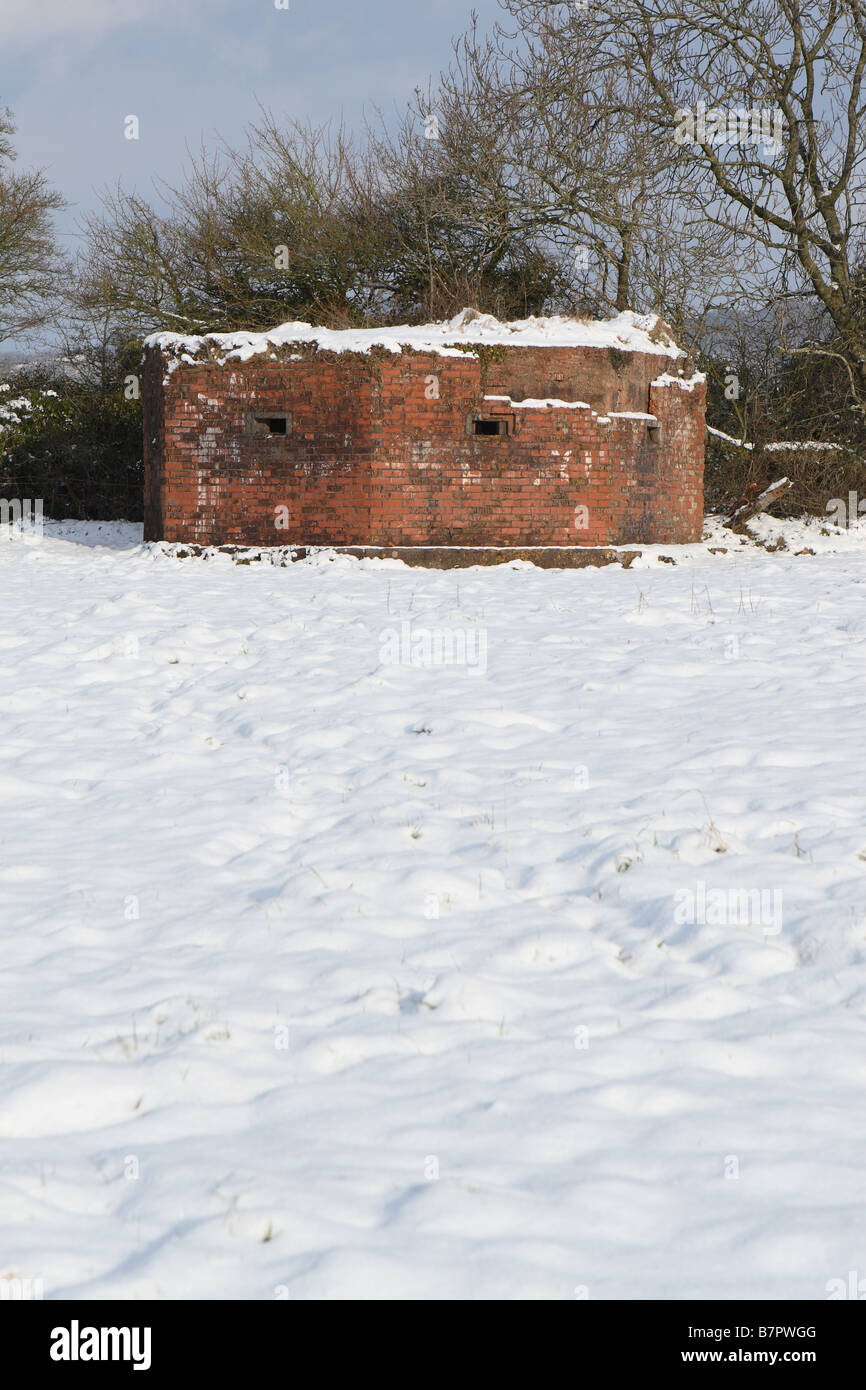 British World War 2 WW2 brick gun emplacement pillbox built for Home Defence in fear of a possible German invasion - Stock Image