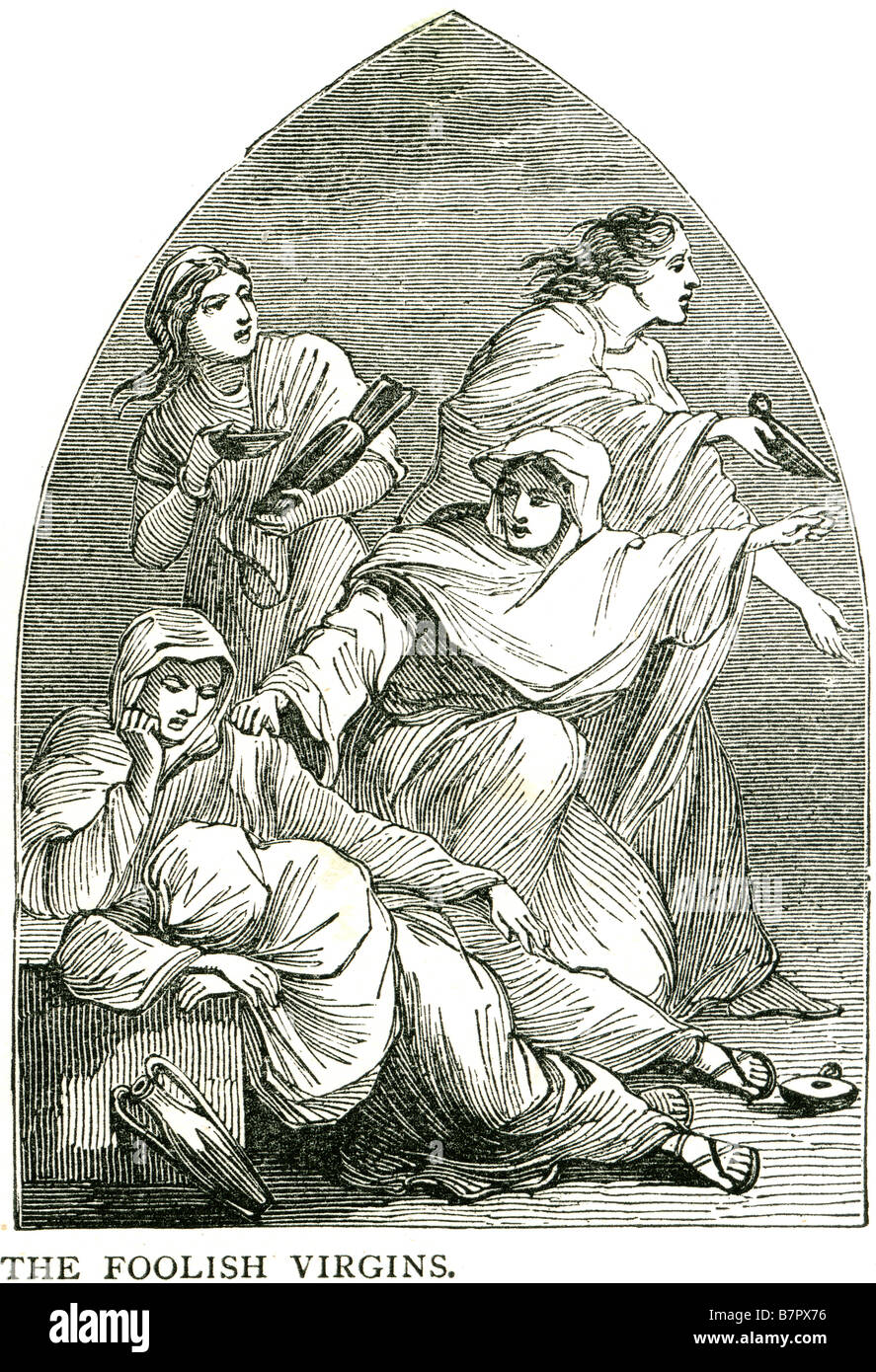 the foolish virgins The Parable of the Ten Virgins , or the Wise and Foolish Virgins, is a parable told by Jesus - Stock Image