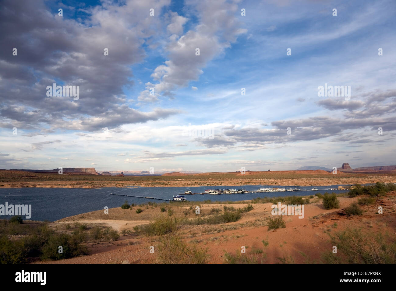 Recreation are with boats on Lake Powell near Page in Arizona, USA Stock Photo