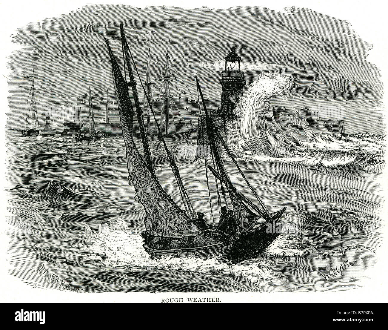 Rough Weather Sailing Sea Boat Lighthouse Storm Port