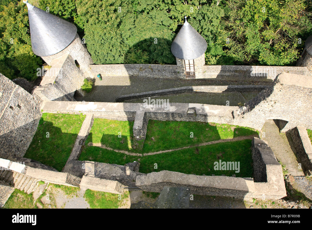 Ruin of the Nürburg Castle in the middle of the Nürburgring in the city of Nürburg, Rheinland-Pfalz, - Stock Image