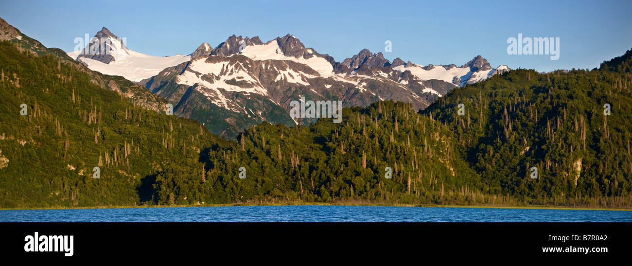Scenic view of Double Glacier, Chigmit Mountains and Big River Lakes in Lake Clark National Park, Alaska - Stock Image
